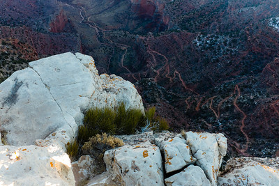 The middle portion of Bright Angel trail leading to the canyon floor and Colorado River.