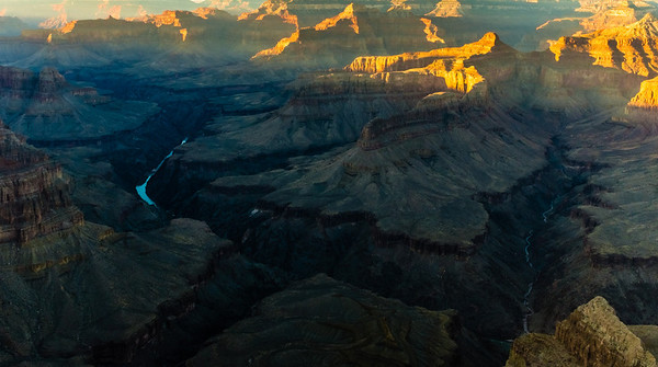 The canyon bottom and Colorado River at sundown.