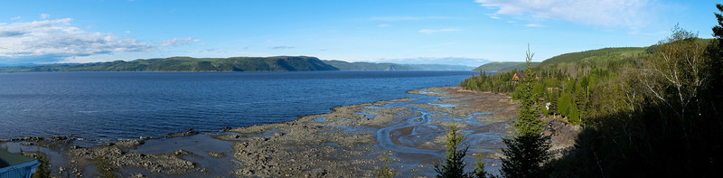 Panoramic view from my room window at Auberge du Saguenay, between La Baie and St-Felix-d'Otis on the south shore. Tide is typically around 3-4M.