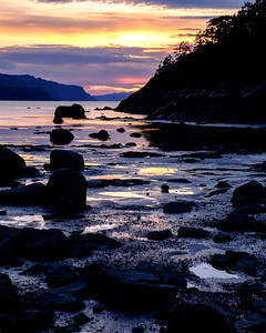 Sunset at low tide from the Petit Saguenay area of the park.