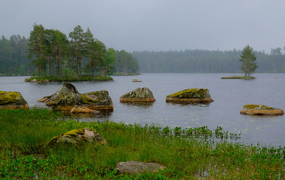 Rainy and dismal day but very moody scenery and lovely lakes in central Sweden.