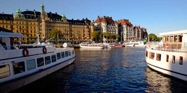 Traditional Stockholm view from the cruise tour boat docking area.